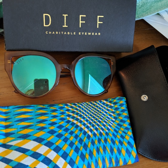 Diff Eyewear Accessories - DIFF Penny Sunglasses in Torti with blue flash